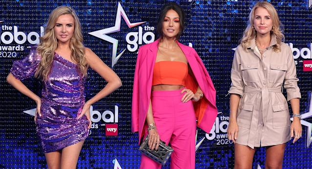 Nadine Coyle and Michelle Keegan opted for vibrant ensembles from Very for the Global Awards 2020. (Getty Images)