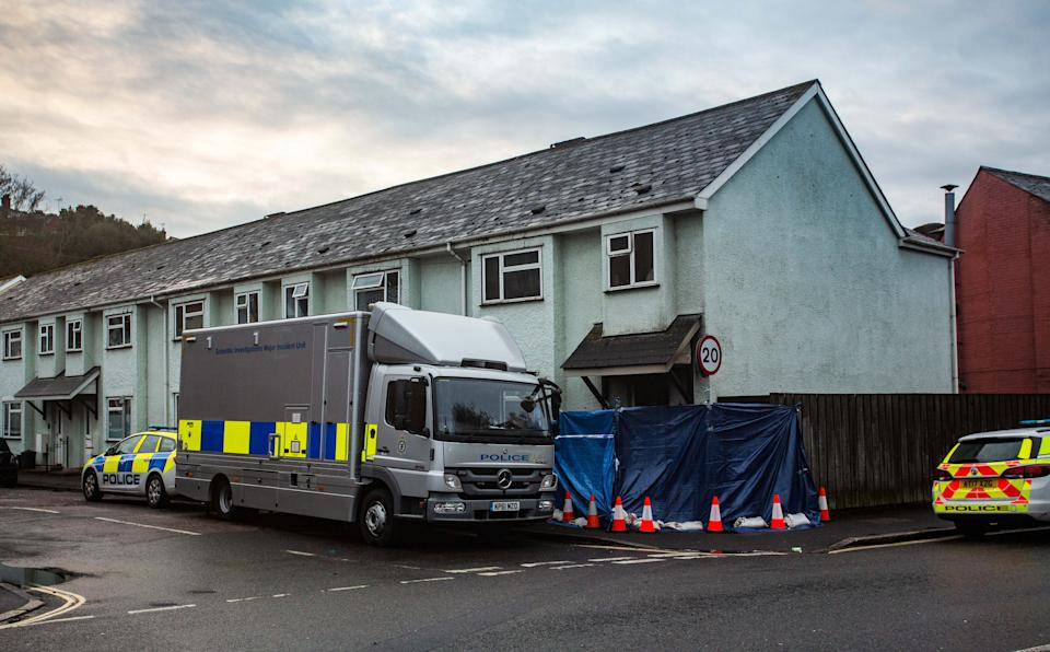 Police remain on the scene following a fire in Clayton Road, Exeter, which claimed the lives of three people. 22nd February 2021.  A four-year-old girl and a couple have died in a house fire, police have said.  See SWNS story SWBRfire.  The girl, a man, 29, and a woman, 28, died following the fire in Clayton Road, Exeter.  Three other children who were in the house, two boys aged four and nine and a seven-year-old girl, are in a stable condition in hospital said officers.  Police called it a