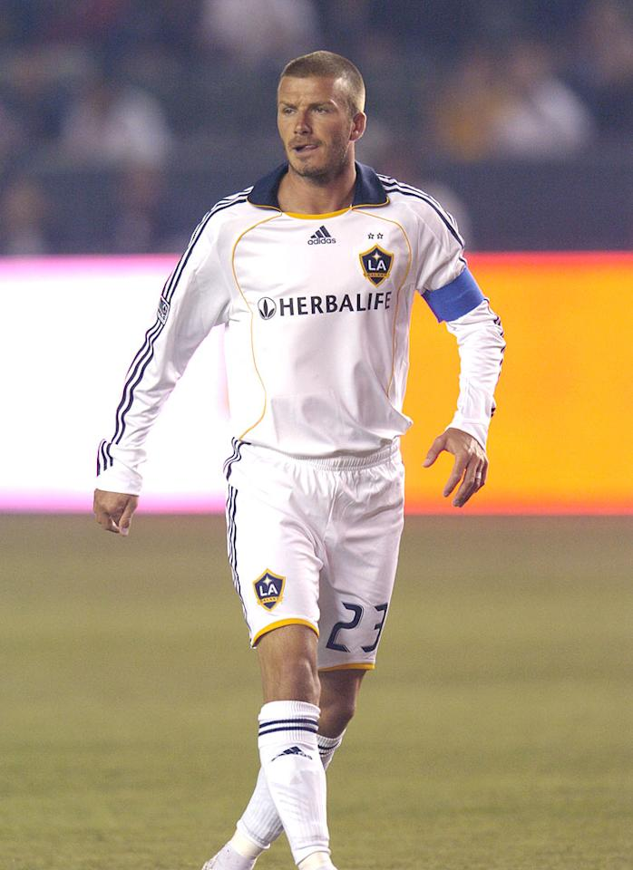 "After an extended absence, David Beckham finally returned to the soccer field with the Los Angeles Galaxy and was looking good as usual. MarinMedia/LondonEnt/<a href=""http://www.splashnewsonline.com"" target=""new"">Splash News</a> - September 21, 2008"