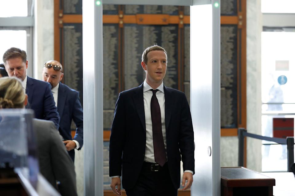 "Facebook Chairman and CEO Mark Zuckerberg arrives to testify at a House Financial Services Committee hearing examining ""Facebook and Its Impact on the Financial Services and Housing Sectors"" on Capitol Hill in Washington, U.S., October 23, 2019. REUTERS/Yuri Gripas"