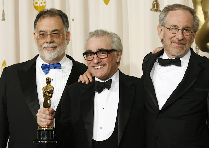 Directors Francis Ford Coppola, Martin Scorsese and Steven Spielberg (Photo by Dan MacMedan/WireImage)