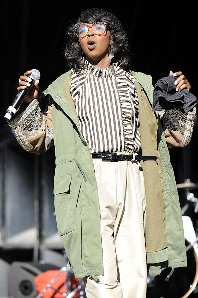 """Lauryn Hill has been MIA for years, but the Fugees' former frontwoman reemerged at the 7th Annual Rock the Bells Festival in NYC last week. Unfortunately, she wore this eyesore of an ensemble, consisting of a ruffled blouse, high-waisted trousers, and Steve Urkel glasses upon her highly anticipated return. Tim Mosenfelder/<a href=""""http://www.gettyimages.com/"""" target=""""new"""">GettyImages.com</a> - August 22, 2010"""