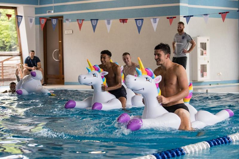 The team were pictured recovering (Rex Features)