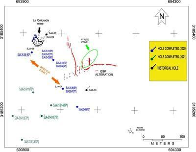 Map of San Javier Drill Holes (CNW Group/Tarachi Gold Corp.)