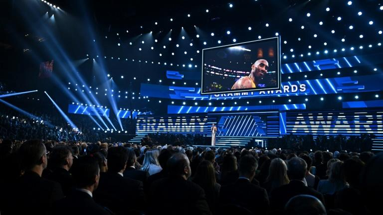 The Grammys began with a moving tribute to the late basketball star Kobe Bryant -- the gala is held at the Staples Center, where Bryant played for the Los Angeles Lakers (AFP Photo/Robyn Beck)