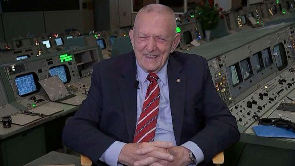 PHOTO: Flight director Gene Kranz is shown in the NASA control center during a recent interview with ABC's David Kerley. (ABC News)