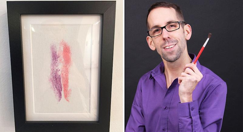 Davide creates his unique art from vagina prints. [Photo: SWNS]