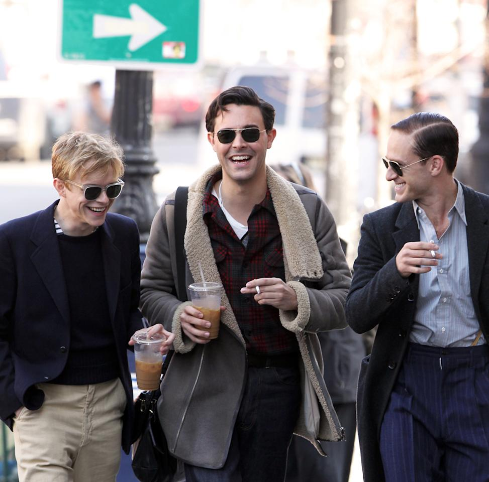 "Dane DeHaan, Jack Huston and Ben Foster on set of ""Kill Your Darlings"" filming on Smith Street on March 19, 2012 in New York City, New York. (Photo by Christopher Peterson/BuzzFoto/FilmMagic)"