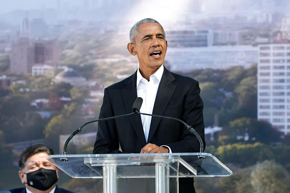 Former US President Barack Obama speaks during a groundbreaking ceremony for the Obama Presidential Center at Jackson Park on September 28, 2021 in Chicago, Illinois. Opening of the center is scheduled for 2025.