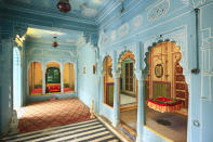 Proceeding further from the Mor-Chowk, in the Zenana Mahal or women's quarters exquisitely designed alcoves, balconies, coloured windows, tiled walls, and floors are seen.