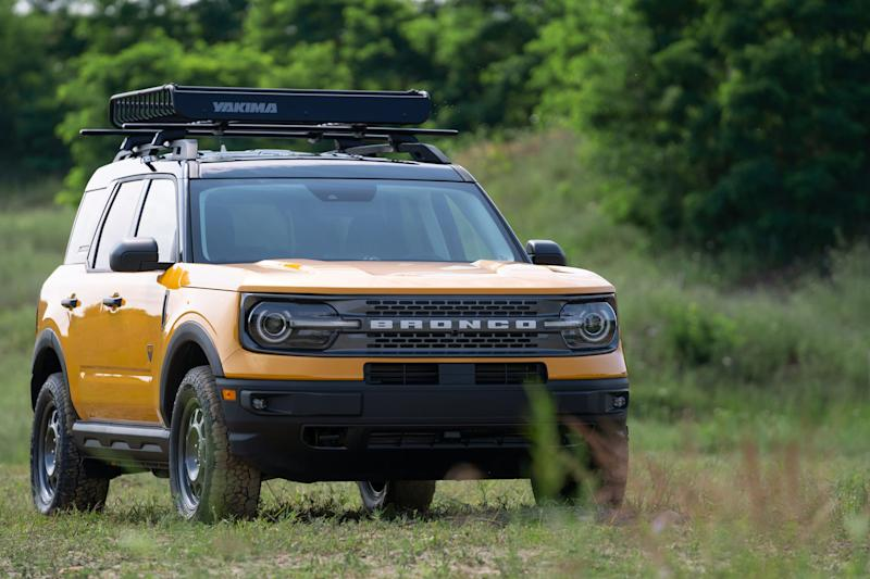 The front of an all-new 4-door Ford Bronco Sport rugged small SUV is seen in Holly on July 10, 2020.