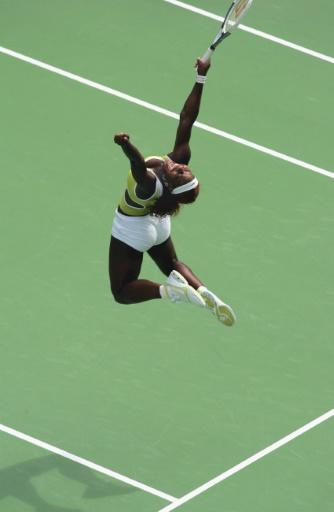 Jumping for joy: Williams won a thrilling semi-final clash at Melbourne Park in 2005