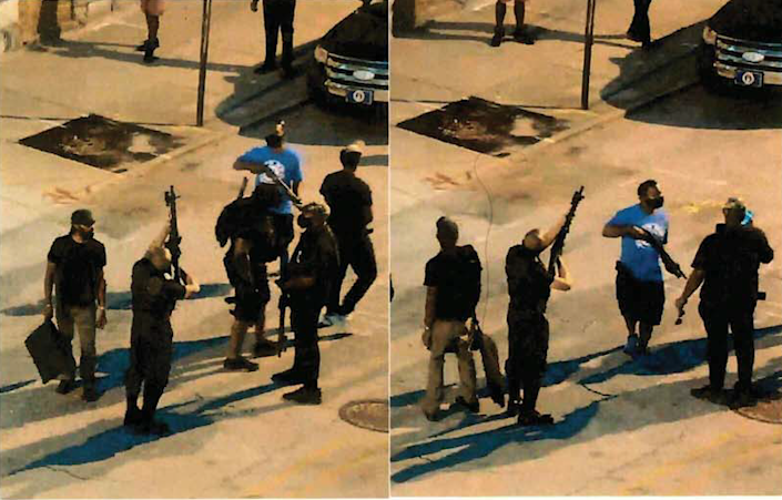 In these frame grabs from a surveillance video, a man prosecutors identify as Grandmaster Jay is seen pointing his rifle upwards on the night of Sept. 4, 2020, in Louisville, Kentucky. Prosecutors have filed the photos in court as evidence that Grandmaster Jay aimed his rifle at law enforcement officers conducting surveillance from a rooftop.