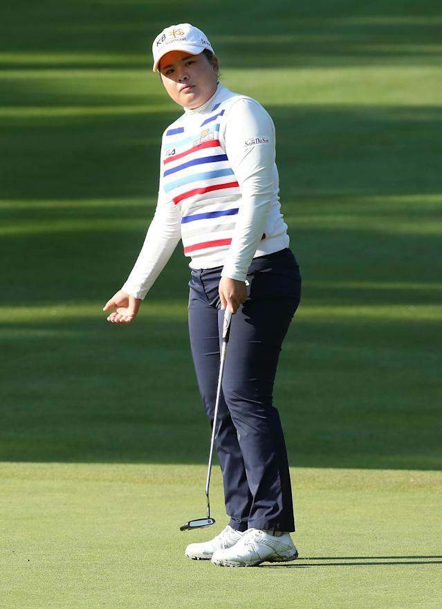 EDMONTON, AB - AUGUST 23: Inbee Park of South Korea reacts to her putt on the fifth hole during the second round of the CN Canadian Women's Open at Royal Mayfair Golf Club on August 23, 2013 in Edmonton, Alberta, Canada. (Photo by Stephen Dunn/Getty Images)
