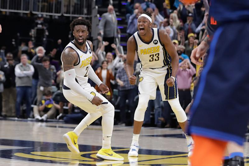 Indiana Pacers&#x27 Wesley Matthews and Myles Turner celebrate during the second half of an NBA basketball game against the Oklahoma City Thunder,Thursday