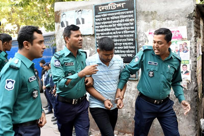 One of the accused of Holey Artisan Bakery attack is led to the court in Dhaka