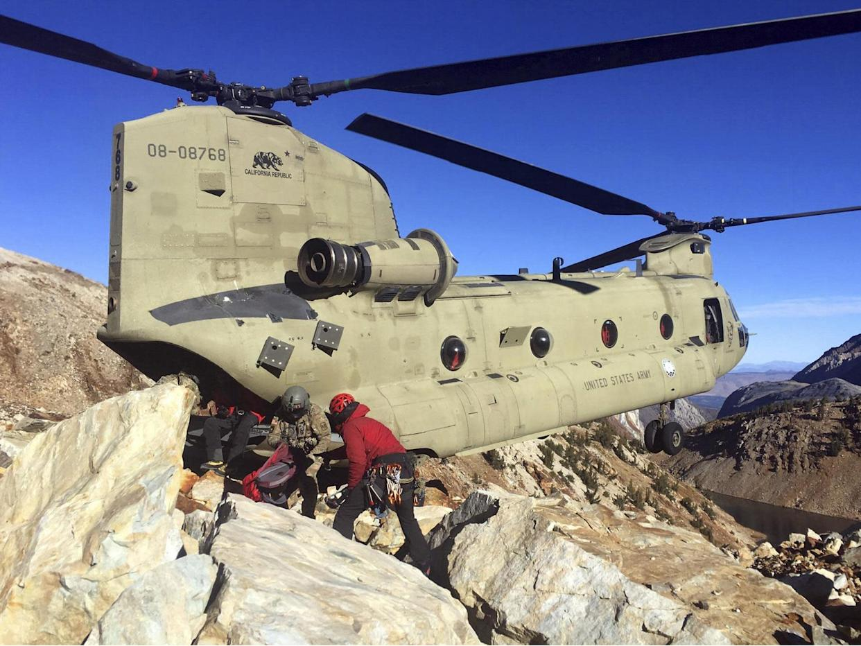 Treacherous conditions meant rescuers had to be airlifted from the scene: AP