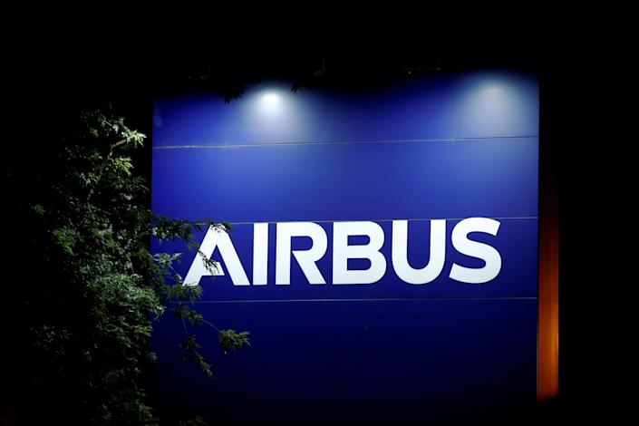 FILE PHOTO: A logo of Airbus is seen at the entrance of its factory in Blagnac near Toulouse