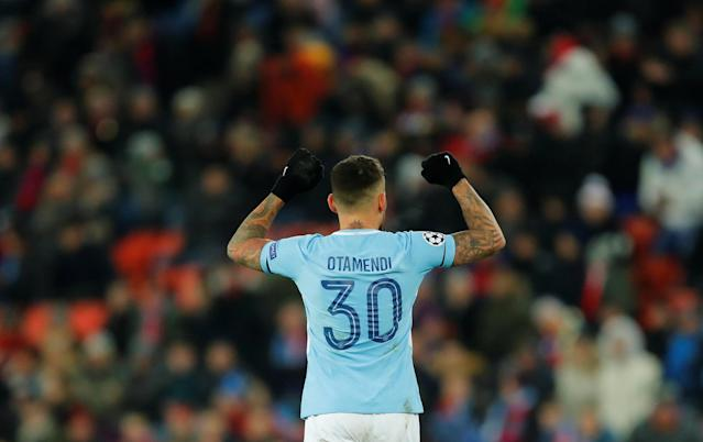 Soccer Football - Champions League - Basel vs Manchester City - St. Jakob-Park, Basel, Switzerland - February 13, 2018 Manchester City's Nicolas Otamendi celebrates after the match REUTERS/Denis Balibouse