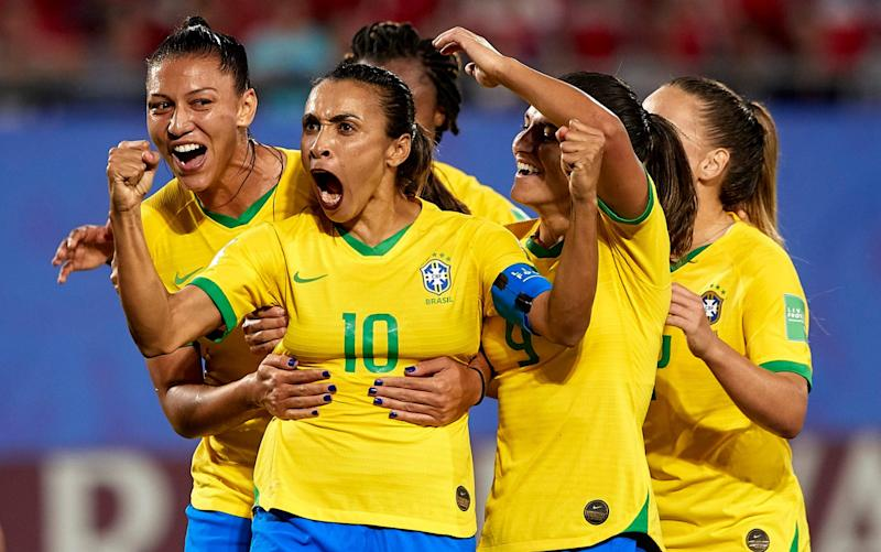 Marta Vieira da Silva of Brazil celebrating their team's first goal during the 2019 FIFA Women's World Cup France group C match between Italy and Brazil  - GETTY IMAGES