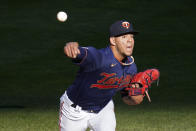 Minnesota Twins pitcher Jose Berrios throws against the Houston Astros in the first inning of a baseball game, Saturday, June 12, 2021, in Minneapolis. (AP Photo/Jim Mone)