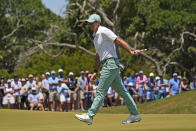 Rory McIlroy, of Northern Ireland, misses a birdie putt on the ninth hole during the first round of the PGA Championship golf tournament on the Ocean Course Thursday, May 20, 2021, in Kiawah Island, S.C. (AP Photo/David J. Phillip)