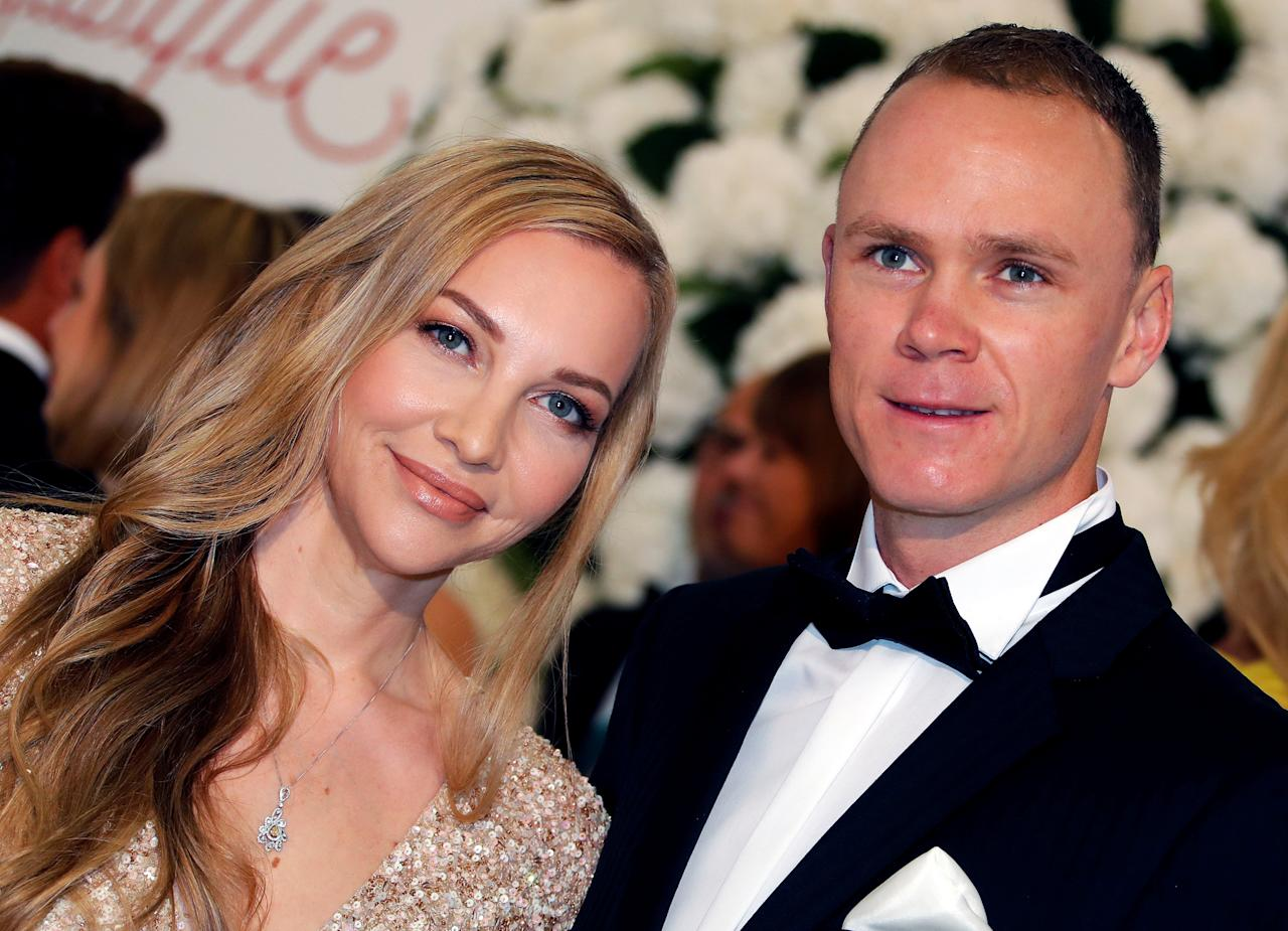 Four times Tour de France winner Chris Froome arrives with his wife Michelle Cound for the annual Red Cross Gala in Monaco, July 28, 2017.       REUTERS/Eric Gaillard