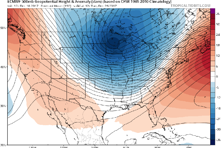 "<img alt=""""/><p>If you're planning on celebrating Christmas in the Upper Midwest or the Dakotas this year, you're going to need to get a thicker coat. </p> <p>A true Arctic air mass — the coldest of the season so far — is projected to swirl down from the Far North, crossing the U.S. border with Canada as early as Wednesday, and potentially oozing its way all the way down to Texas, and east to New York City. </p> <p>Right now, however, it appears the East Coast may escape the worst of the cold, at least initially.</p> <div><p>SEE ALSO: <a rel=""nofollow"" href=""http://mashable.com/2017/12/13/macron-make-planet-great-again-climate-research-grants/"">Emmanuel Macron lures top U.S. climate scientists fleeing from Trump research cuts</a></p></div> <p>The precise details of this cold snap are still a bit fuzzy, specifically concerning whether a winter storm develops along the boundary separating the frigid air from more seasonable temperatures. It's conceivable that areas from Texas to New England could have a white or icy Christmas this year, though this won't become clear for another few days. </p> <p>In Denver, Christmas Eve could see temperatures as cold as 30 to 40 degrees Fahrenheit below average, according to computer model guidance. On Christmas Day itself, the core of the coldest air may be located over the big cities of the Midwest, including Minneapolis, Milwaukee, and Chicago. While low temperatures may plunge below zero Fahrenheit, this cold snap is not likely to break many records, in part because of the lack of widespread snow cover across the U.S.</p> <div><div><blockquote> <p>Intensity of Arctic blasts can be concisely described by the lowest 850-hPa pressure level temperature ... -32°C over North Dakota on Christmas Eve morning beneath lobe of tropopause Polar Vortex.  Not too bad. <a rel=""nofollow"" href=""https://t.co/wvrdOSzjAa"">pic.twitter.com/wvrdOSzjAa</a></p> <p>— Ryan Maue 