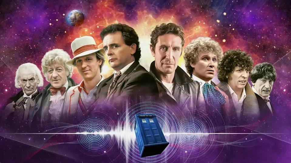 Promotional image featuring (from left) the First, Third, Fifth, Seventh, Eighth, Sixth, Fourth, and Second Doctors in Doctor Who.
