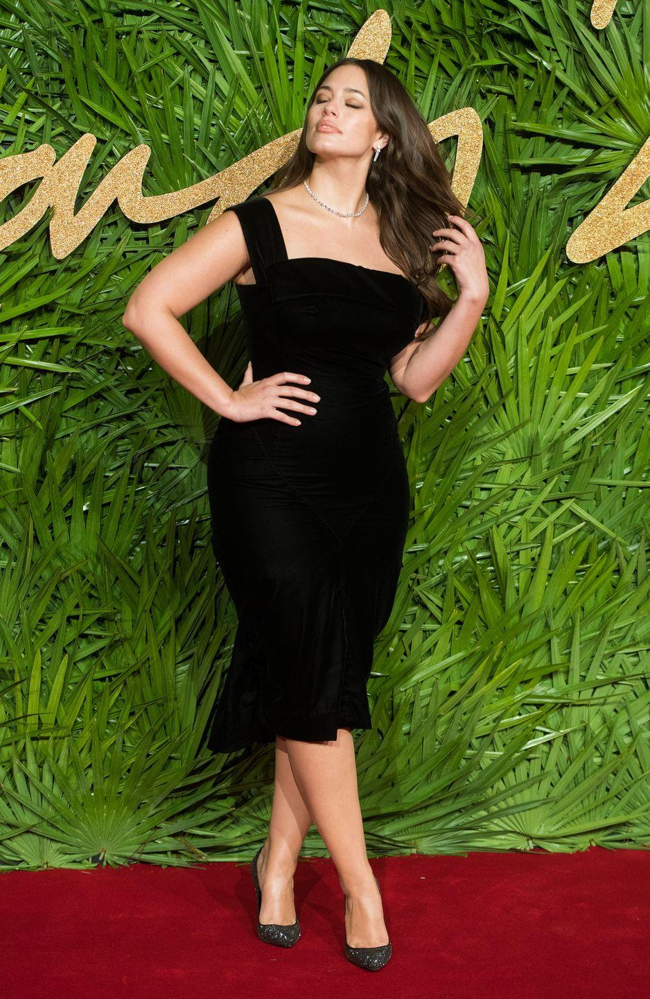 """<p>At the 2017 British Fashion Awards: While <a href=""""https://www.cosmopolitan.com/uk/fashion/celebrity/g14059414/british-fashion-awards-2017-red-carpet/"""" rel=""""nofollow noopener"""" target=""""_blank"""" data-ylk=""""slk:everyone else was rocking up to the red carpet in nearly-naked outfits"""" class=""""link rapid-noclick-resp"""">everyone else was rocking up to the red carpet in nearly-naked outfits</a>, Ashley Graham was keeping it classy in the most simple LBD dress paired with plenty of diamonds. Chic AF.</p>"""