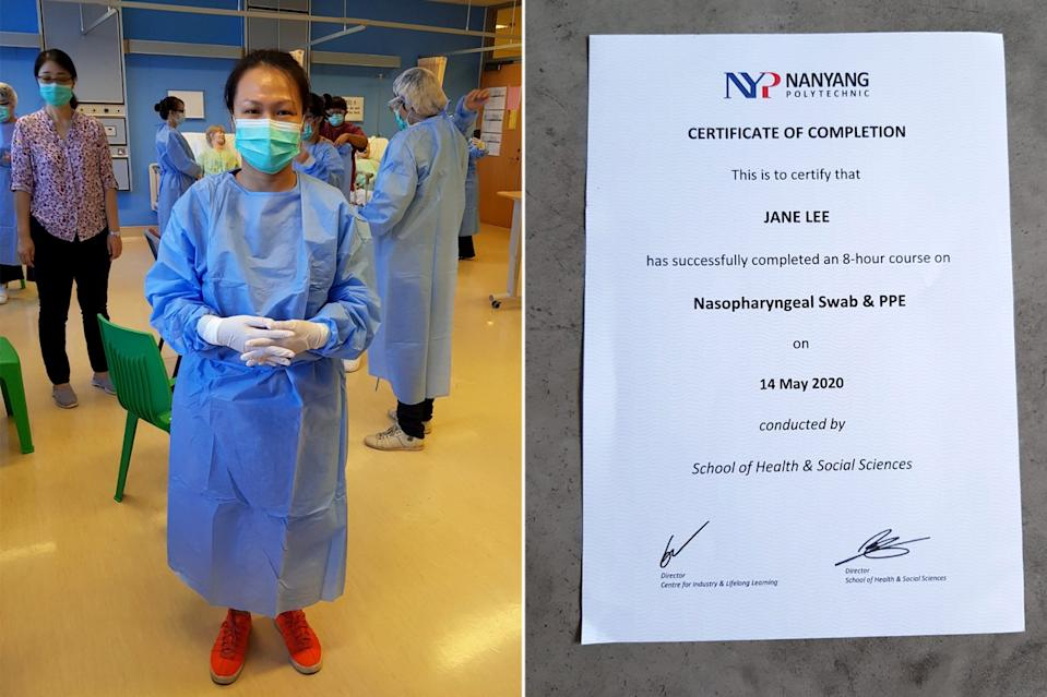 Jane Lee in protective gear during her training session and a certificate of her training course. (Photos courtesy of Jane Lee)
