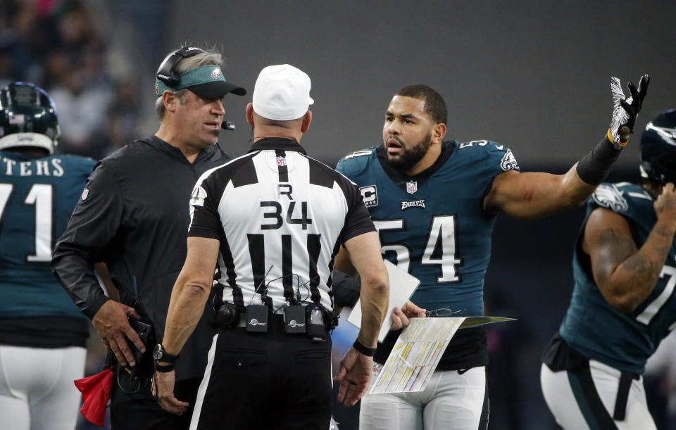 Kamu Grugier-Hill was not pleased when officials ruled that he didn't recover an early Cowboys fumble. (AP)