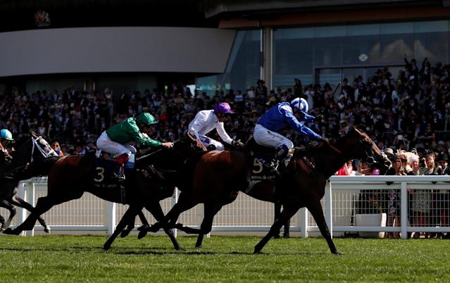 Horse Racing - Royal Ascot - Ascot Racecourse, Ascot, Britain - June 22, 2018 Eqtidaar ridden by Jim Crowley wins the 3.40 Commonwealth Cup Action Images via Reuters/Paul Childs