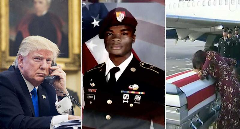 Donald Trump's conversation with the mother of La David Johnson has been condemned (Rex)