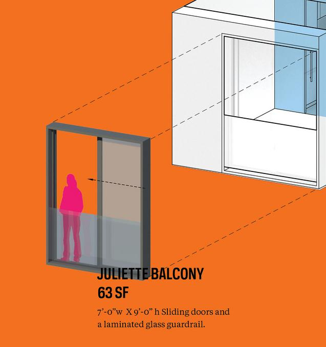 New York micro-apartment design winner announced orange balcony