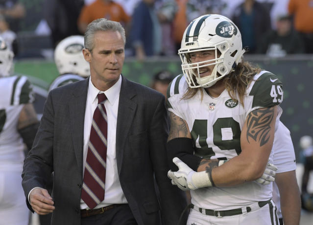 Jets linebacker Dylan Donahue was arrested and charged with DWI and reckless driving early Monday after causing a crash in the Lincoln Tunnel. (AP)