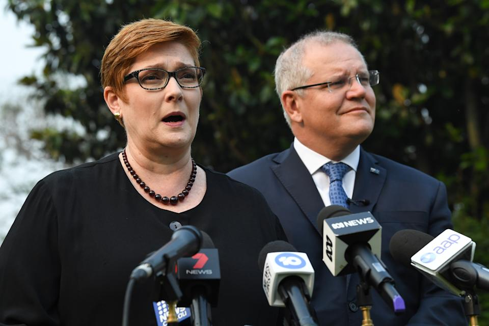 SYDNEY, AUSTRALIA - DECEMBER 10: Australian Prime Minister Scott Morrison with Foreign Minister Marise Payne addressing media at Kirribilli House on December 10, 2019 in Sydney, Australia. Three Australians are feared amongst the dead and several are injured or missing following a volcanic eruption at White Island in the Bay of Plenty on Monday. (Photo by James D. Morgan/Getty Images)