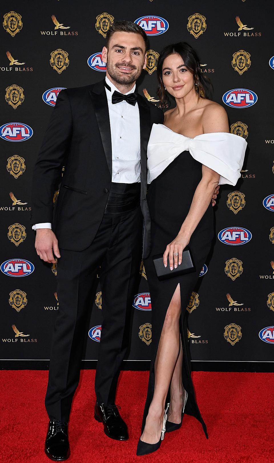 Stephen Coniglio and  Rebecca Demlakian at the Brownlow Medal 2021