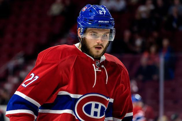 """MONTREAL, QC – OCTOBER 20: <a class=""""link rapid-noclick-resp"""" href=""""/nhl/players/5683/"""" data-ylk=""""slk:Alex Galchenyuk"""">Alex Galchenyuk</a> #27 of the <a class=""""link rapid-noclick-resp"""" href=""""/nhl/teams/mon/"""" data-ylk=""""slk:Montreal Canadiens"""">Montreal Canadiens</a> looks on during the warmup prior to the NHL game against the <a class=""""link rapid-noclick-resp"""" href=""""/nhl/teams/ari/"""" data-ylk=""""slk:Arizona Coyotes"""">Arizona Coyotes</a> at the Bell Centre on October 20, 2016 in Montreal, Quebec, Canada. The Montreal Canadiens defeated the Arizona Coyotes 5-2. (Photo by Minas Panagiotakis/Getty Images)"""