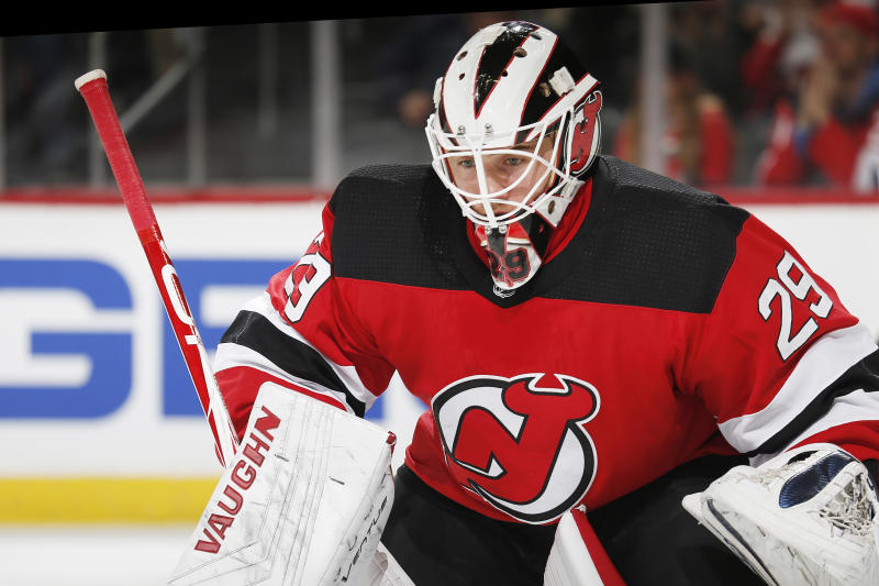 Mackenzie Blackwood #29 of the New Jersey Devils