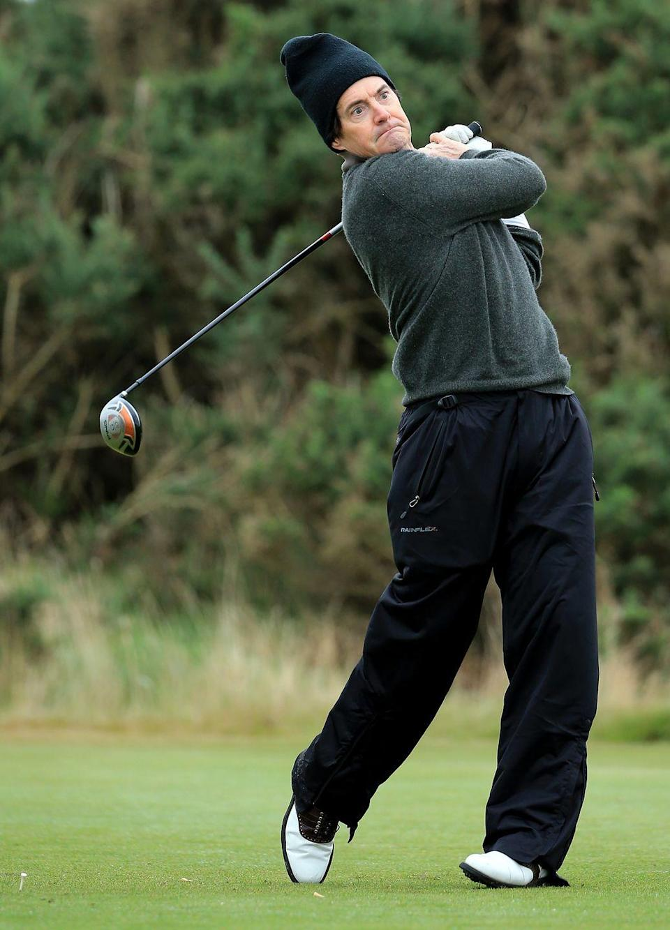 <p>Kyle MacLachlan on the first tee during a practice round at Kingsbarns for the 2013 Alfred Dunhill Links Championship.</p>