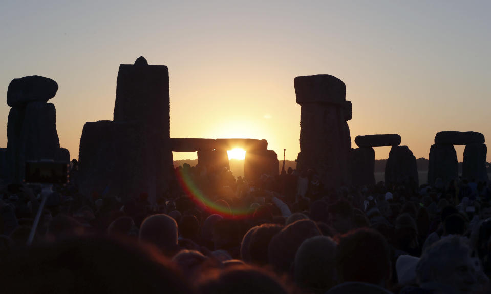 The coronavirus pandemic has scuttled summer solstice celebrations at Stonehenge, a highlight of the year for thousands of people. (AP)
