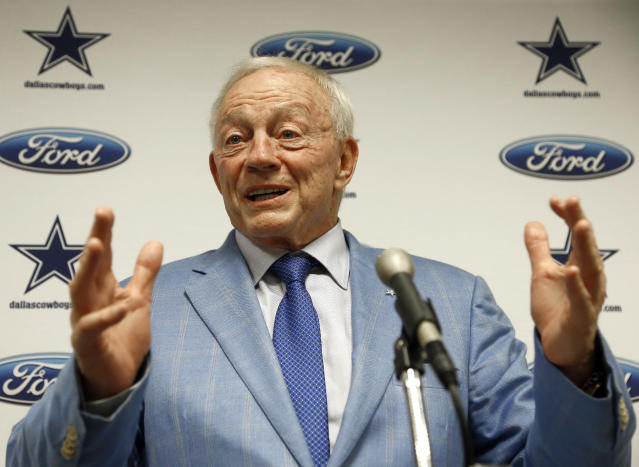 Dallas Cowboys owner Jerry Jones talks about players kneeling. (AP)