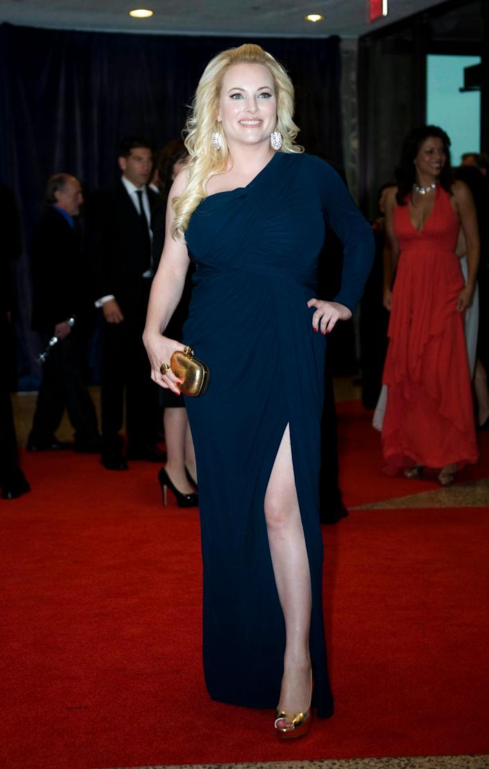 Meghan McCain arrives at the White House Correspondents' Association Dinner on Saturday, April 28, 2012 in Washington. (AP Photo/Kevin Wolf)