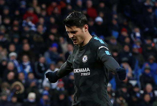 Soccer Football - FA Cup Quarter Final - Leicester City vs Chelsea - King Power Stadium, Leicester, Britain - March 18, 2018 Chelsea's Alvaro Morata celebrates scoring their first goal REUTERS/Andrew Yates