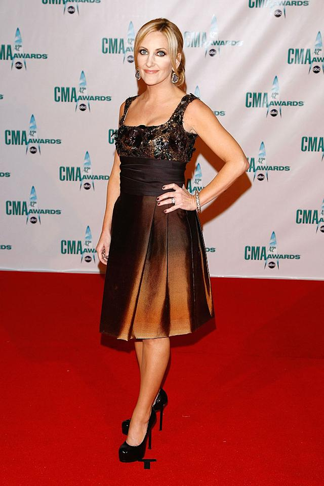 """Lee Ann Womack's copper dress beautifully contrasted with her complexion. Thankfully, she didn't go tan-happy like Shania Twain. Jemal Countess/<a href=""""http://www.wireimage.com"""" target=""""new"""">WireImage.com</a> - November 12, 2008"""