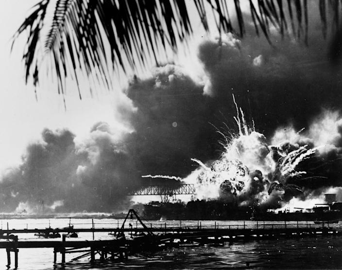 <p>The forward magazine of the destroyer USS Shaw explodes during the second Japanese attack wave on Pearl Harbor on Dec. 7, 1941. (U.S. Naval History and Heritage Command/Handout via Reuters) </p>