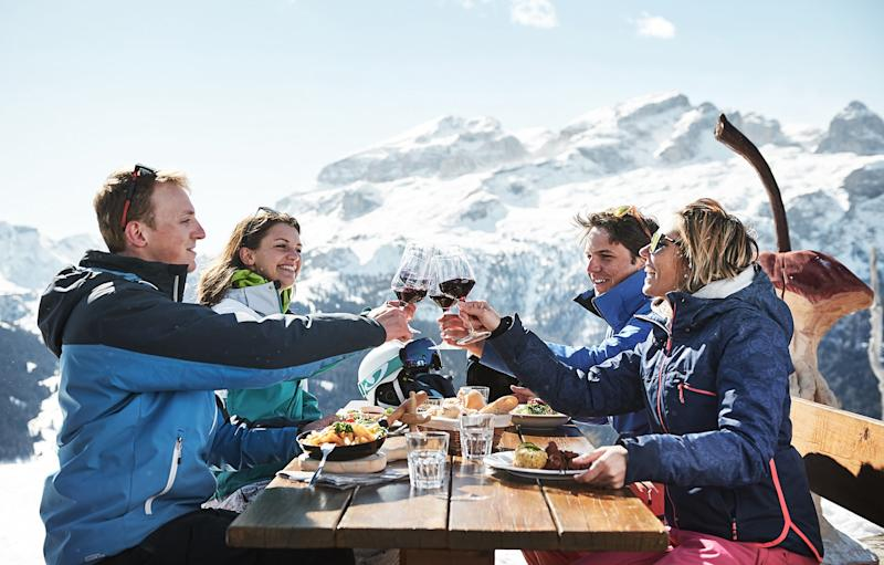 A toast to food and skiing - the perfect pair -