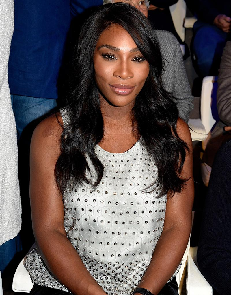 Serena Williams, pictured here in at a fashion show in Set attends the Giorgio Armani show during Milan Fashion Week Spring/Summer 2017 on September 23, 2016 in Milan, Italy. (Photo: Pietro D'aprano/Getty Images)