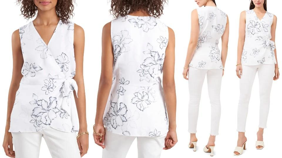 Vince Camuto Floral Beauty Wrap Front Sleeveless Blouse - Nordstrom, $47 (originally $79)
